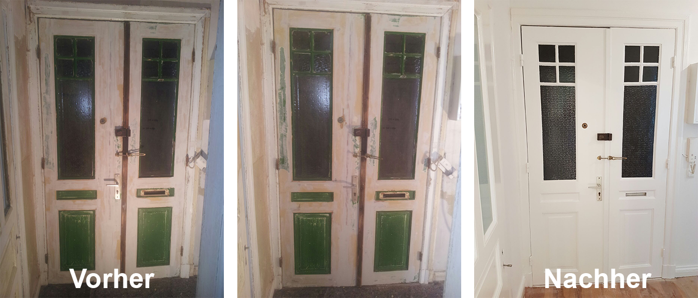 Vorher- und Nachherbild einer frisch lackierten Tür einer Altbauwohnung