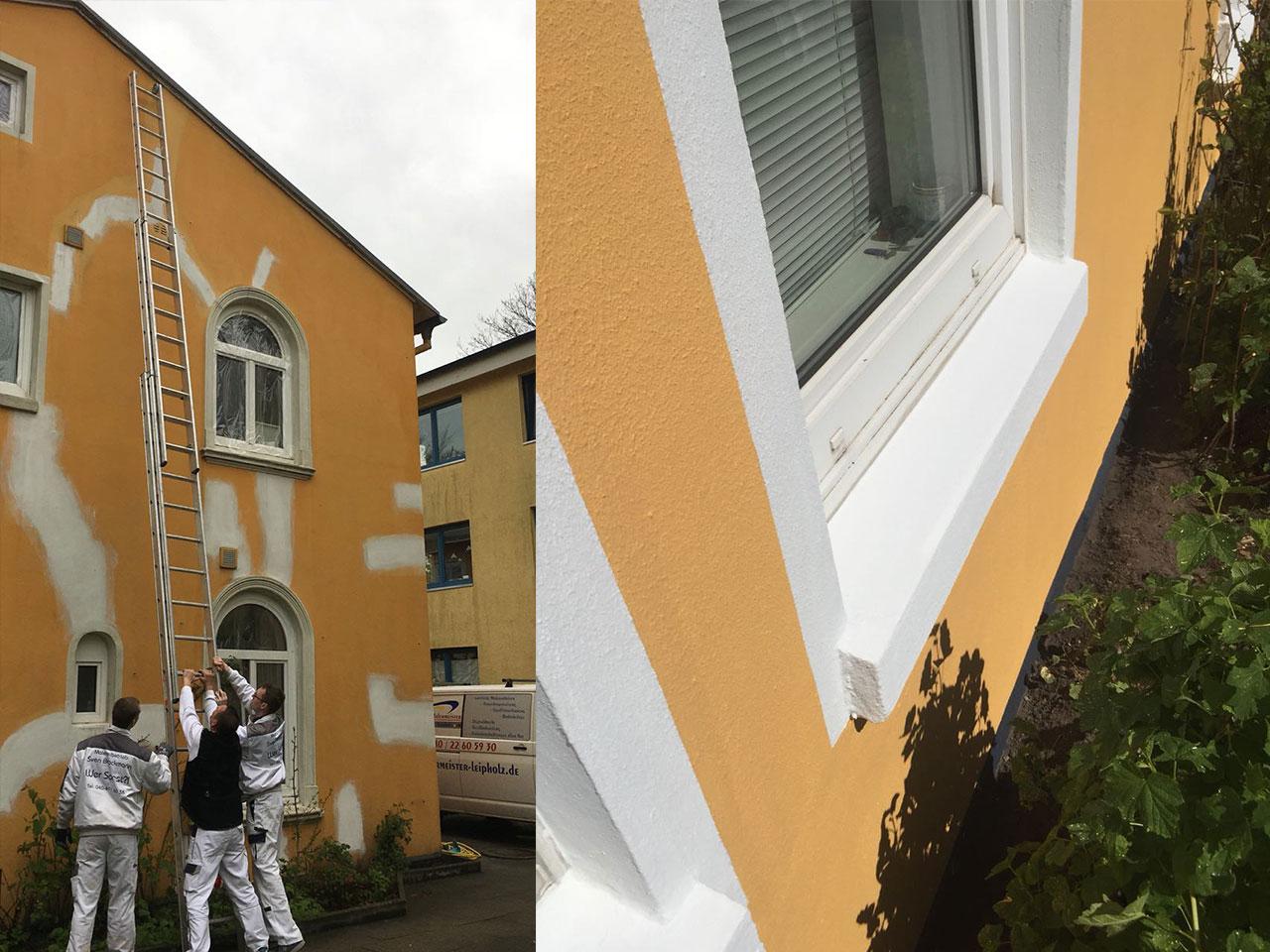 Bild während der Fassadenrenovierung am Haus und das Ergebnis danach