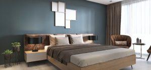 Schlafzimmer mit Wandfarbe Petrol