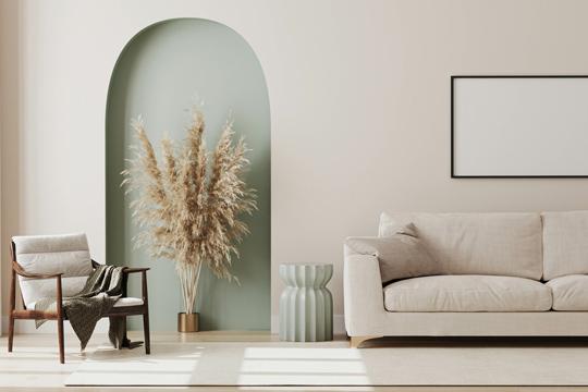 helle Wohnung mit Wänden in Naturtönen als Trend 2021