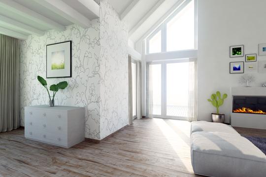 Modernes Apartment mit hellen Wänden und Tapeten mit grafischen Formen