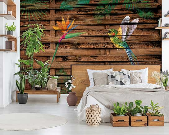 Real photo of a botanical bedroom interior with wooden shelves,